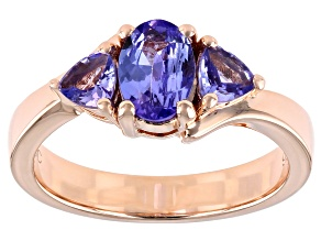 Blue Tanzanite 18K Rose Gold Over Silver 3-stone Ring 1.12ctw
