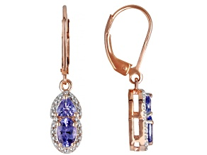 Blue Tanzanite 18k Rose Gold Over Silver Earrings 1.02ctw