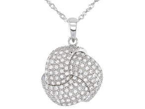 White Zircon Rhodium Over Silver Pendant With Chain .77ctw