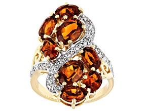 Orange Citrine 18k Gold Over Sterling Silver Ring 3.73ctw
