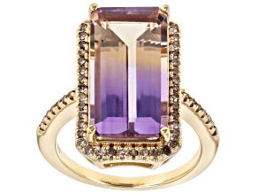 Bi-color Ametrine 18k yellow gold over silver ring 7.13ctw