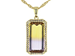 Bi-color Ametrine 18k yellow gold over sterling silver pendant with chain 6.50ctw