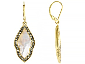 White Mother-of-Pearl 18k Yellow Gold Over Silver Earrings
