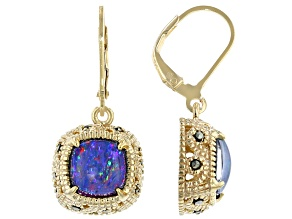 Multi-Color Australian Opal Triplet 18k Gold Over Silver Earrings