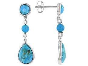 Blue Turquoise Rhodium Over Silver Earrings .06ctw