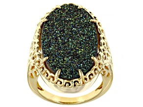 Oval Multi-Color Drusy Quartz 18k Yellow Gold Over Silver Ring 21.25ctw