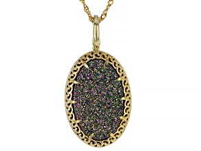 Oval Multi-Color Drusy Quartz 18k Yellow Gold Over Silver Pendant With Chain. 18.35ctw