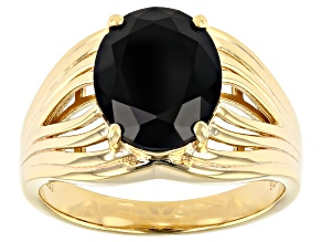 Black Spinel 18K Yellow Gold Over Sterling Silver Solitaire Ring 3.12 ct