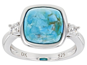 Blue Turquoise Rhodium Over Sterling Silver Ring .22ctw