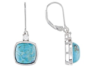Blue Turquoise Rhodium Over Sterling Silver Earrings .22ctw