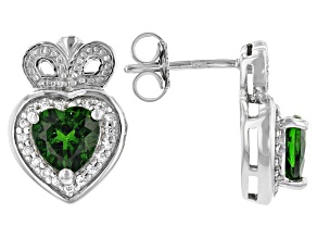 Green Chrome Diopside Rhodium Over Silver Earrings 1.60ctw