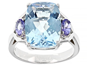 Glacier Topaz(TM) Rhodium Over Silver Ring 7.34ctw