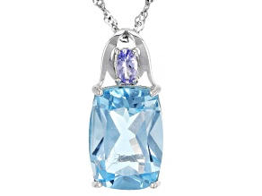 Blue Topaz Rhodium Over Sterling Silver Pendant With Chain 6.79ctw