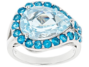 Sky Blue Topaz Rhodium Over Silver Ring 5.48ctw