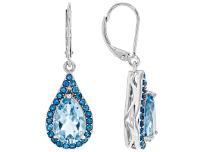 Sky Blue Topaz Rhodium Over Sterling Silver Earrings 6.99ctw