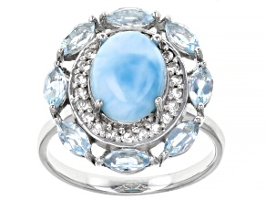 Blue Larimar Rhodium Over Sterling Silver Ring 1.37ctw