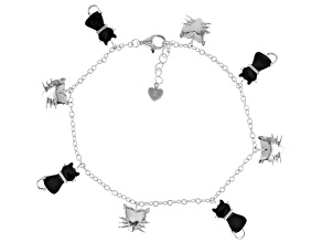 "Black And White Enamel and Rhodium Over Sterling Silver ""Kitty"" Bracelet"