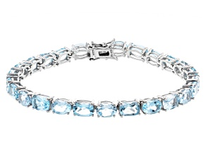 Blue Topaz Rhodium Over Sterling Silver Bracelet 22.78ctw