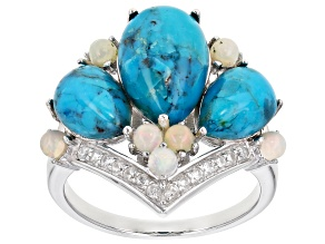 Blue Turquoise Rhodium Over Silver Ring .35ctw