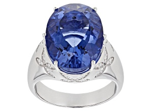 Blue Color Change Fluorite Rhodium Over Silver Ring 8.54ctw