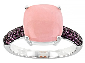 Pink Opal Rhodium Over Sterling Silver Ring .41ctw