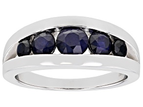 Blue Sapphire Rhodium Over Sterling Silver Band Ring 1.37ctw