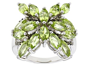 Green Peridot Rhodium Over Sterling Silver ring 2.55ctw