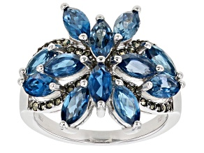 London Blue Topaz Rhodium Over Sterling Silver Ring 3.73ctw