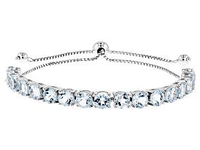 Sky Blue Topaz Rhodium Over Silver Bolo Bracelet 8.67ctw