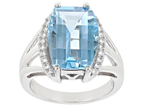 Blue Topaz Rhodium Over Sterling Silver Ring 7.70ctw
