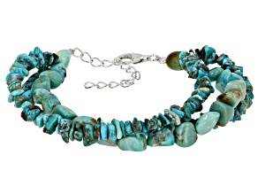 Blue Turquoise Rhodium Over Sterling Silver 3-Strand Bracelet