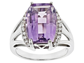 Purple Amethyst Rhodium Over Sterling Silver Ring 6.62ctw