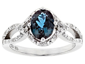 Blue lab created alexandrite rhodium over sterling silver ring 1.30ctw