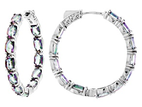Multi-color Quartz Rhodium Over Silver Inside/Outside Hoop Earrings 8.65ctw