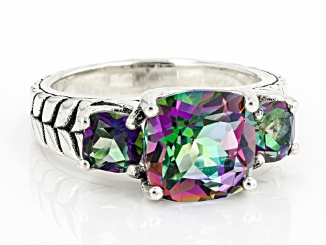 Mystic Fire(R) Green Topaz Sterling Silver Ring 4.23ctw