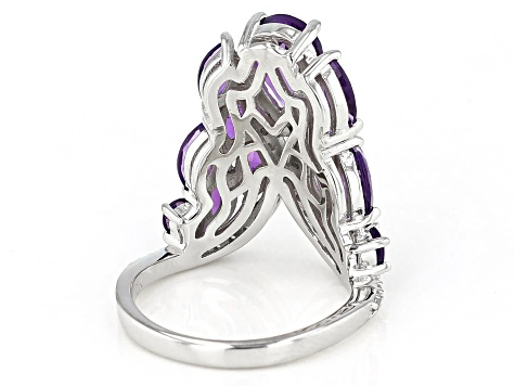 Purple Amethyst Rhodium Over Silver Ring 3.70ctw