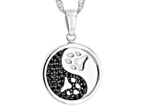 Black Spinel Rhodium Over Silver Ying/Yang Paw Print Pendant With Chain 0.20ctw