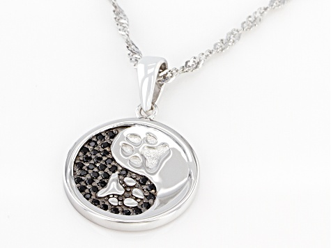 Black Spinel Rhodium Over Silver Yin/Yang Paw Print Pendant With Chain .20ctw