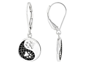 0.29ctw Black Spinel Rhodium Over Sterling Silver Yin Yang Paw Print Dangle Earrings