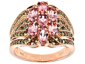 Pink Color Shift Garnet 18k Rose Gold Over Sterling Silver Ring 2.52ctw