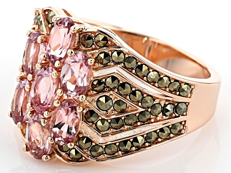 Color Shift Garnet 18k Rose Gold Over Sterling Silver Ring 2.52ctw
