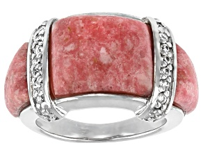 Pink Thulite Rhodium Over Sterling Silver Ring 0.29ctw