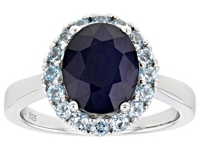 Blue Sapphire Rhodium Over Sterling Silver Ring 3.19ctw