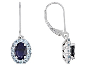Blue Sapphire Rhodium Over Silver Earrings 2.45ctw