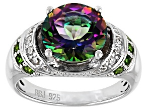 Green Mystic Topaz(R) Topaz Rhodium Over Silver Ring 4.11ctw