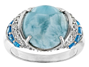 Blue Larimar  Rhodium Over Sterling Silver Ring 0.86ctw