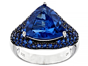 Blue Lab Created Spinel Rhodium Over Sterling Silver Ring 6.45ctw