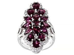 Raspberry Color Rhodolite Rhodium Over Silver Ring 6.78ctw