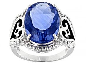 Blue Fluorite Rhodium Over Silver Ring 10.36ct