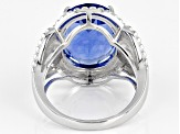 Blue Fluorite Rhodium Over Silver Ring 10.36ct